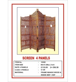 Screen 4 Panel  'Centre Peak' Burnt