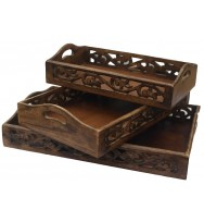 S/3 Tray Leaf Cutwork