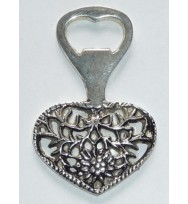 Bottle Opener Heart Silver Ant