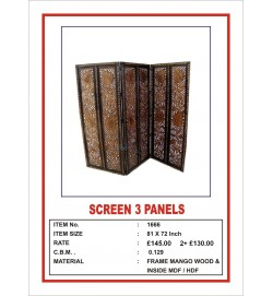Screen 3 Panel  'Leaf carving' 1.5""