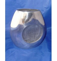 """Flat Vase Circle detail Silver 8"""""""