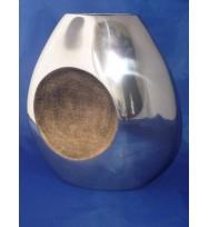 """Flat Vase Circle detail Gold 9.5"""""""