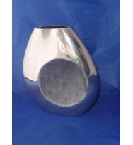 """Flat Vase Circle det Silver 9.5"""""""