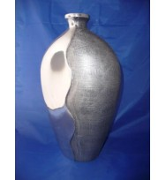 Oval Top Vase Silver Large