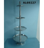 Large Cake Stand Polished Aluminium