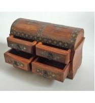 Half Round Box w/Iron & Brass Deco