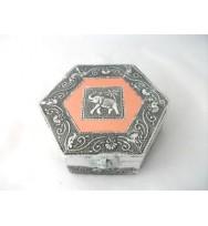 Hexa Mini Jewel Box w/Elephant