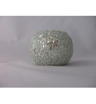 Ball Votive Crackle Mosaic Silver