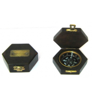 Antique Compass in Hex Box