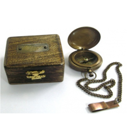 Pocket Compass w/Chain Boxed