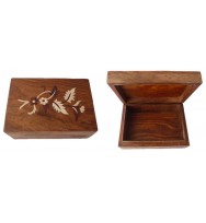 Box with wood inlay