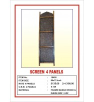 Screen 4 Panel  'Intricate carving' Black