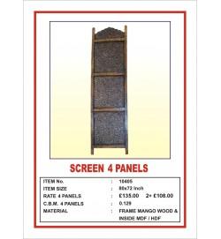 Screen 4 Panel  'Intricate carving' Black