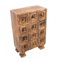12 Mini Drawer Burnt Finish Tall