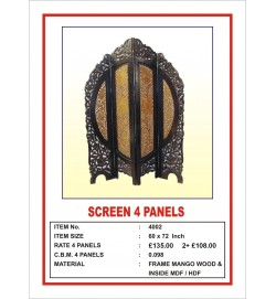 Screen 4 Panel  Round Ornate Leaf