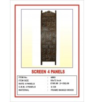 Screen 4 Panel Elephant Wood