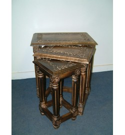 Carved Table Ornate Legs S/3