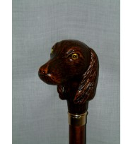 Large Dog Head w/Beeds Walking Stick