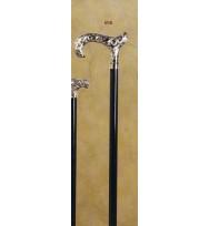Nickel Carving Black Derby Walking Stick