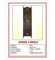 Screen 4 Panel Leaf Carving Ironwork