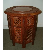 Octagonal Base Table B&C Inlay 12""