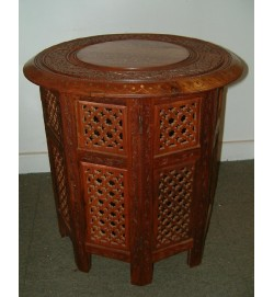 Octagonal Base Table B&C Inlay 15""