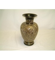 Black Vase with detail brass etching