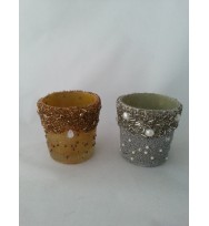 Cup Votive Embelish Beed Gold