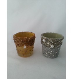 Cup Votive Embelish Beed Silver