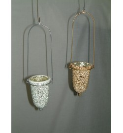 Bell T-Light Crackle Mosaic Silver