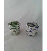 Votive line beeding 6cm Green/White